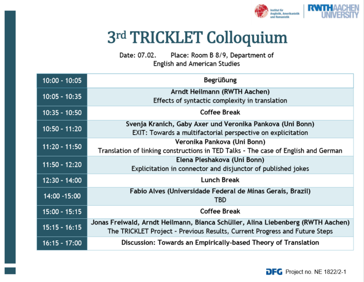 Schedule of the 3rd TRICKLET Colloquium